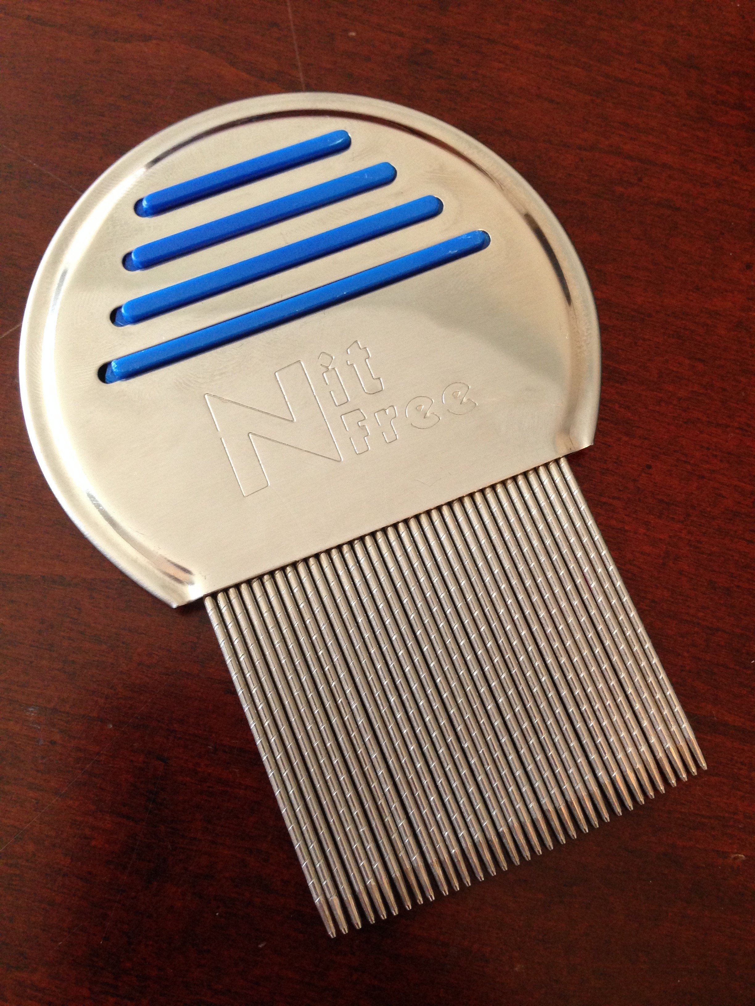Head lice comb, captures the nits and pulls them out/